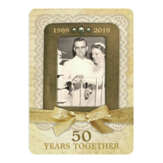 Tarjeta 50.o Collage del aniversario de boda de oro 1 foto