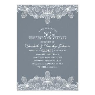 Tarjeta 50.o Cordón de lujo elegante del aniversario de
