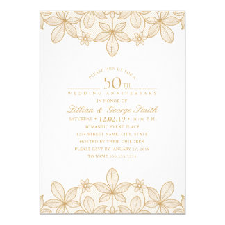 Tarjeta 50.o Cordón de oro elegante del aniversario de