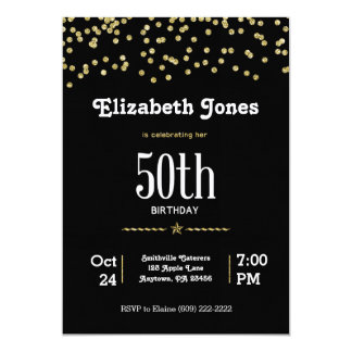 Tarjeta 50.o Cumpleaños con oro que brilla