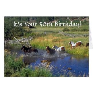 Tarjeta 50.o cumpleaños de los caballos corrientes