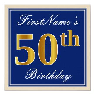 Tarjeta 50.o cumpleaños del oro elegante, azul, falso +