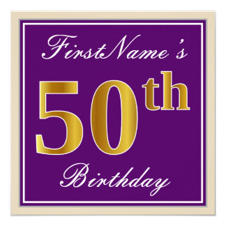 Tarjeta 50.o cumpleaños del oro elegante, púrpura, falso +