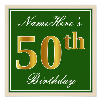 Tarjeta 50.o cumpleaños del oro elegante, verde, falso +