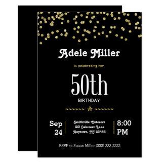 Tarjeta 50.o cumpleaños del personalizable con oro que