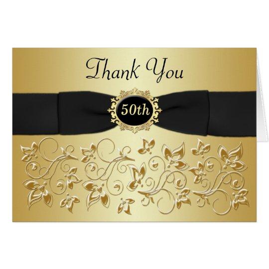 Tarjeta 50.o El oro negro del aniversario floral le