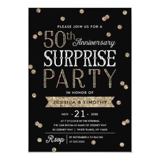 Tarjeta 50.o Fiesta de sorpresa del confeti del brillo del