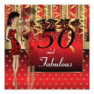 Tarjeta 50.o Fiesta del chica del golpe del cumpleaños el