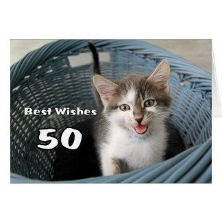 Tarjeta 50.o Gatito loco del cumpleaños