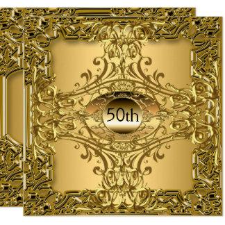 Tarjeta 50.o Lujo de la fiesta de cumpleaños del oro