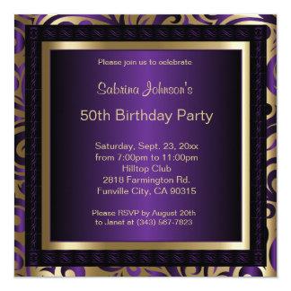 Tarjeta 50.o Metálico púrpura y oro de la fiesta de