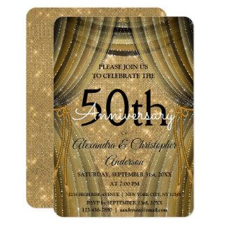 Tarjeta 50.o Negro del aniversario de boda y chispa del