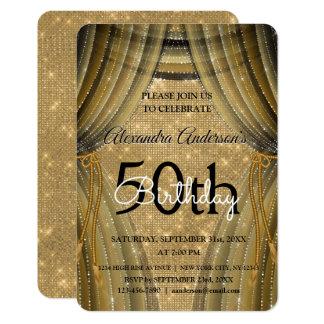 Tarjeta 50.o negro del cumpleaños y chispa elegantes del
