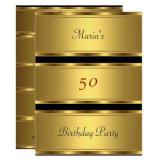 Tarjeta 50.o negro del oro de la fiesta de cumpleaños del