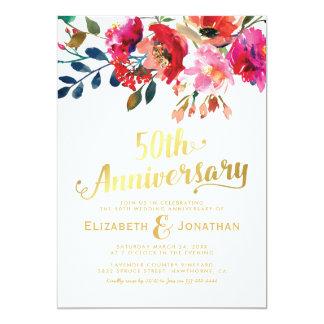 Tarjeta 50.o Oro elegante del aniversario de boda floral