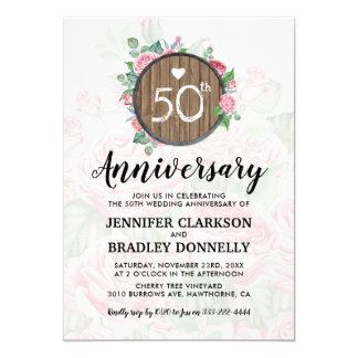 Tarjeta 50.o País rústico del aniversario de boda floral