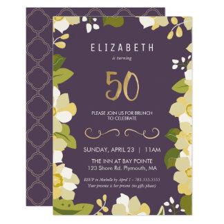 Tarjeta 50.o Quincuagésimo floral del personalizar de la