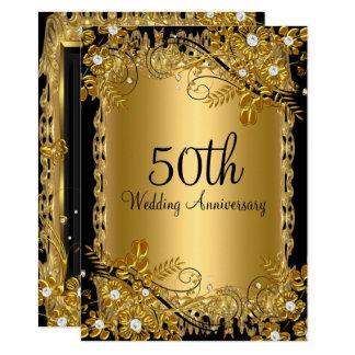 Tarjeta 50.o Remolino floral del diamante negro del oro