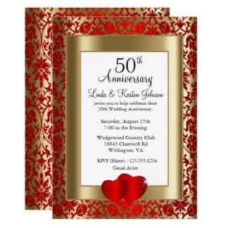 Tarjeta 50.o Texto de oro y rojo del aniversario de boda