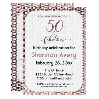 Tarjeta 50 y fiesta fabuloso con falso oro color de rosa