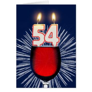 Tarjeta 54.o Cumpleaños con el vino y las velas