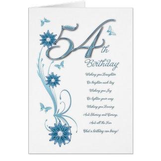 Tarjeta 54.o cumpleaños en trullo con las flores y la