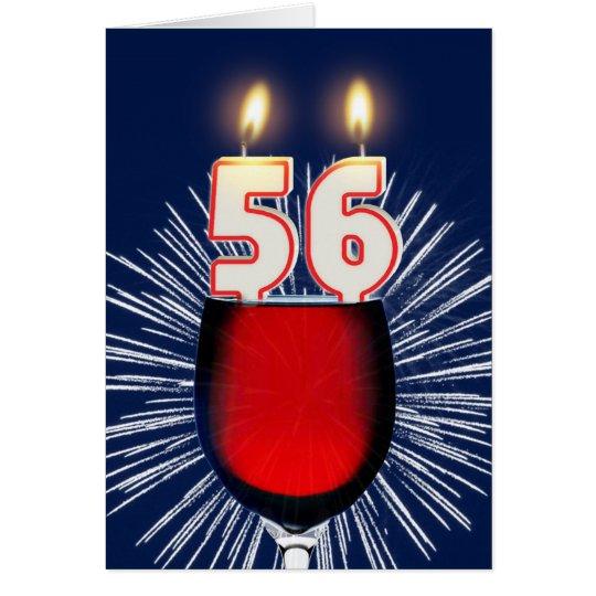 Tarjeta 56.o Cumpleaños con el vino y las velas