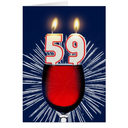 Tarjeta 59.o Cumpleaños con el vino y las velas