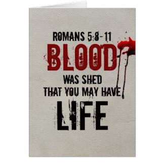 Tarjeta 5:8 de los romanos - la sangre 11 fue vertida para