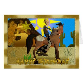 Tarjeta 5 del vaquero del feliz cumpleaños