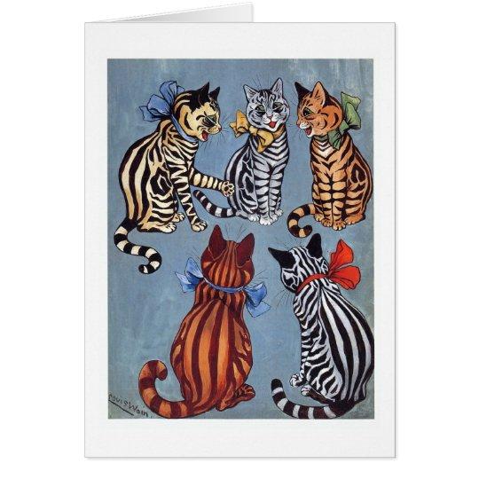 Tarjeta 5 gatos encantadores Louis Wain
