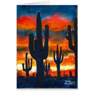 tarjeta 5 x 7 con el saguaro de la puesta del sol