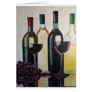 tarjeta 5 x 7 con el vino blanco rojo o del sobre