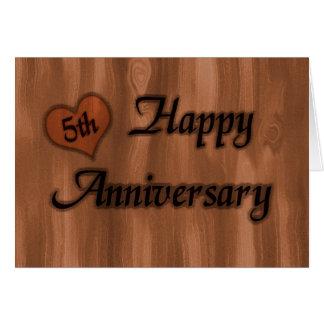 Tarjeta 5to aniversario feliz (aniversario de boda)