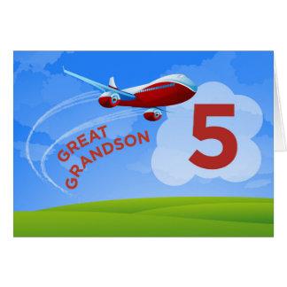 Tarjeta 5to Cumpleaños, grande - nieto, aeroplano rojo