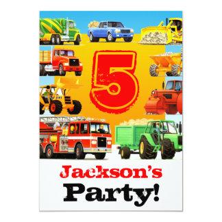 Tarjeta 5to fiesta de los camiones de la construcción del