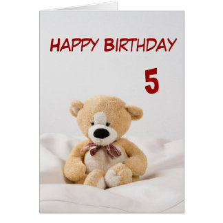 Tarjeta 5to tema del oso de peluche del feliz cumpleaños