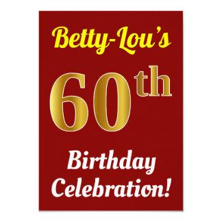Tarjeta 60.a celebración del cumpleaños del oro rojo,