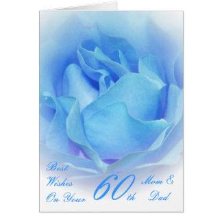 Tarjeta 60.o Azul de la mamá y del papá del aniversario de
