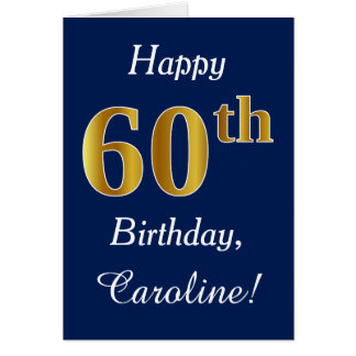 Tarjeta 60.o cumpleaños del oro azul, falso + Nombre de