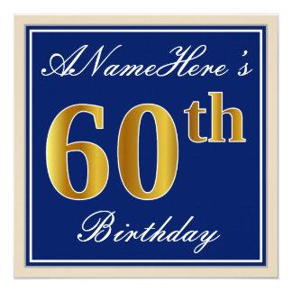 Tarjeta 60.o cumpleaños del oro elegante, azul, falso +