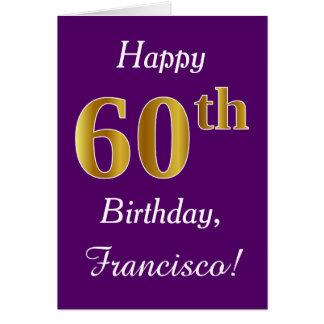 Tarjeta 60.o cumpleaños del oro púrpura, falso + Nombre de