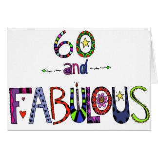 Tarjeta 60 y 60.o cumpleaños fabuloso