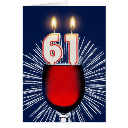 Tarjeta 61.o Cumpleaños con el vino y las velas