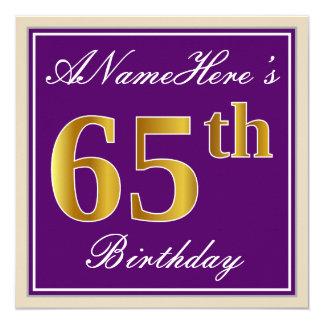 Tarjeta 65.o cumpleaños del oro elegante, púrpura, falso +