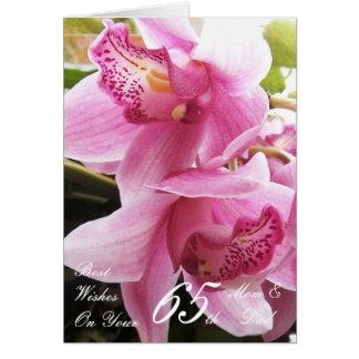 Tarjeta 65.o Mamá del aniversario de boda y orquídeas