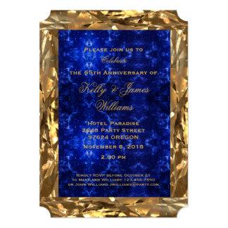 Tarjeta 65.o Moda azul del zafiro del oro del aniversario