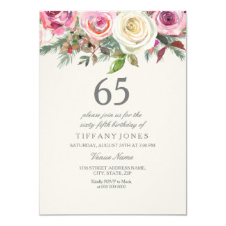 Tarjeta 66.o 67.o 68.o 69.o cumpleaños del rosa blanco
