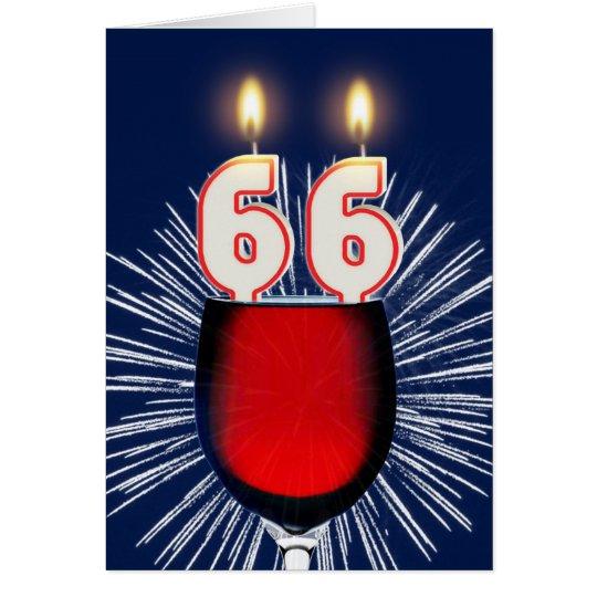 Tarjeta 66.o Cumpleaños con el vino y las velas