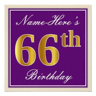 Tarjeta 66.o cumpleaños del oro elegante, púrpura, falso +
